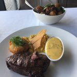 Rump steak - $49, plus $10 roast potatoes, and $5 Bearnaise sauce