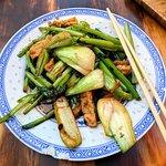 'Bun' dish of Tempeh, Chinese Broccoli & Greens