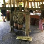 This is an ancient tool they use to press sugar cane.