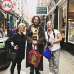 Our guide Will Hagrid showing us around the street that was the inspiration for Diagon Alley