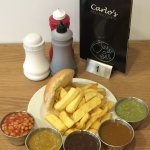 Chip Butty and .....Beans? Mild Curry? Gravy? Spicy Curry? Peas? Difficult Decisions.