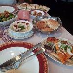 shish tawook, moutabel, fatouch salad, shawarma