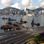 View of the Hong Kong harbour at dawn