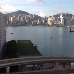 View of the Hong Kong harbour in the morning