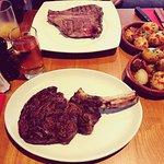 Pan handle steak was delicious.