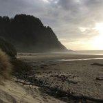Hobbit beach at sunset