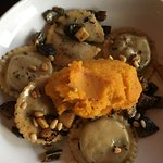 Ravioli, saute mushrooms and mashed sweet potato