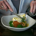 Cider Cured Smoked Ham Hock Hash Cake Poached Hen's Egg & Chive Mousseline Sauce Starter