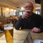 Hubby enjoying a pint