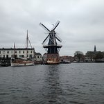 A wonderful view of the windmill and the Haarlem skyline by boat.