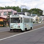 Hakodate tram 8007 approaches the end of line 2 at Yachigashira.