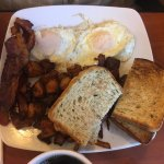 Eggs Over Easy, Bacon, Hash Browns and Toast
