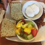 Poached Eggs, Bacon, Fresh Fruit and Toast