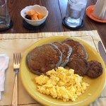 Blueberry Pancakes, Sausage, Scrambled Eggs, Fruit