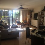 This is looking from the kitchen into the living area. Left is 2nd br/ba and laundry. MBR far le
