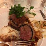Beef Wellington and dauphinoise potatoes.