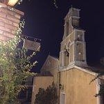 The church opposite the restaurant