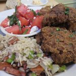 Southern fried chicken and watermelon salad