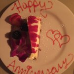 """Complimentary Anniversary Cheesecake Desert."" Thank you Holdren's."