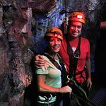 Chris & I in the cavern waiting for the next zipline ride!!!
