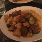 curried lamb with grilled veggies and rice