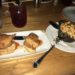 Fried chicken biscuits and side of mac + cheese. yum-o