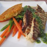 Veal with pesto sauce and vegetables