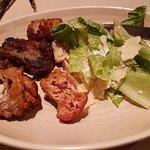 Chicken, beef and caesar salad
