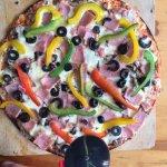 Thin Crust Pizza - Capsicum, Ham, Olives