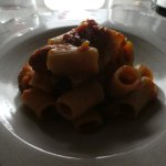 mezzemaniche with pork sauce