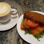cappuccino and salmon sandwich