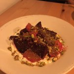 Amalga salad (Amalga Distillery gin pickled beets, confit fennel, lavender almonds, goat cheese)