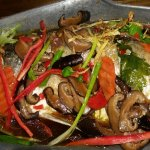 White snapper with wild mushrooms and chillies (Spicy)