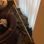 The curtain rail that came down on my partner as he tried to close it , mise well of split him o