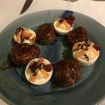 Pork Belly Meat balls and Deviled Eggs