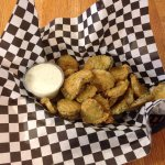 New York cheesecake with caramel  and chocolate sauce.   Fried pickles with ranch.
