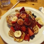 Very light - croissant French toast with fruit. Would order again.