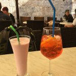 Apersol Spritz and strawberry milkshake (for the driver)