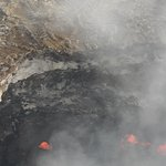 View from the helicopter of the lava in the volcano