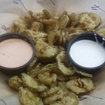 Thin sliced deep fried pickles