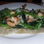 shrimp, bacon, and spinach taco.