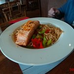 grilled salmon darn on sweet chilly noodles
