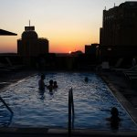 Sunset on the roof top pool