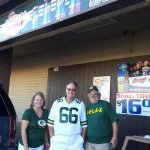 Chris and I with the owner, Geno. Had him take time to give us a pose outside the bar