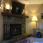 Fireplace in living room area.