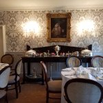One of the dining areas, set for breakfast