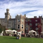The seating area and grounds in the back of the castle. Great place to enjoy a pint or a glass o