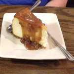 New York cheesecake with praline sauce.