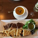 Cup of soup & small plate with entree