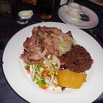 One of the food options: pork with salad, rice and malanga